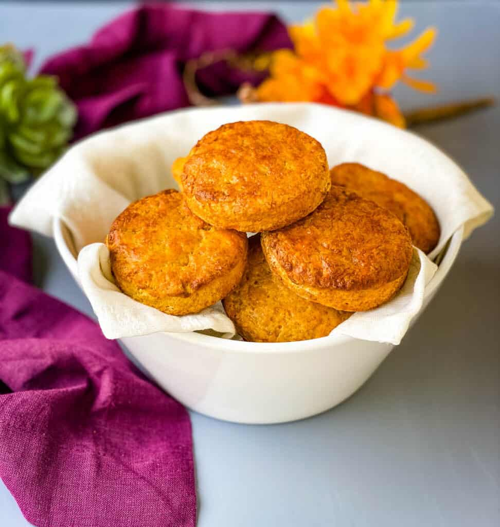 sweet potato biscuits in a white bowl