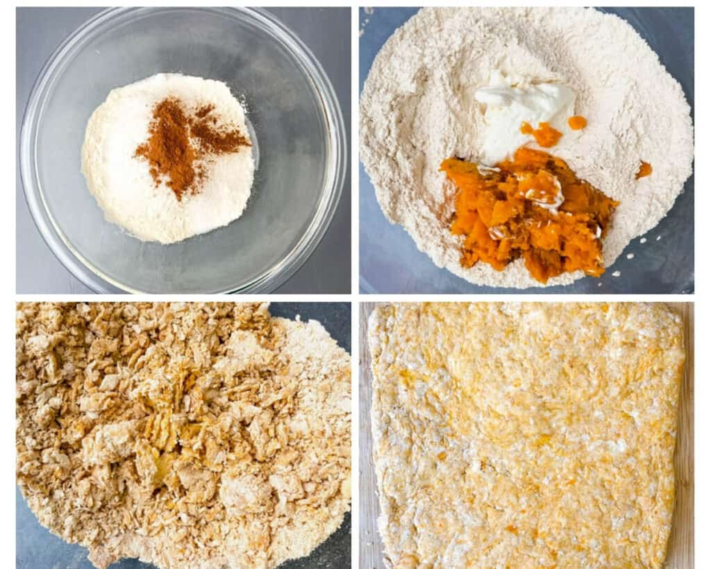 collage photo showing step by step how to make biscuit dough, flour sweet potatoes in a glass bowl and biscuit mix