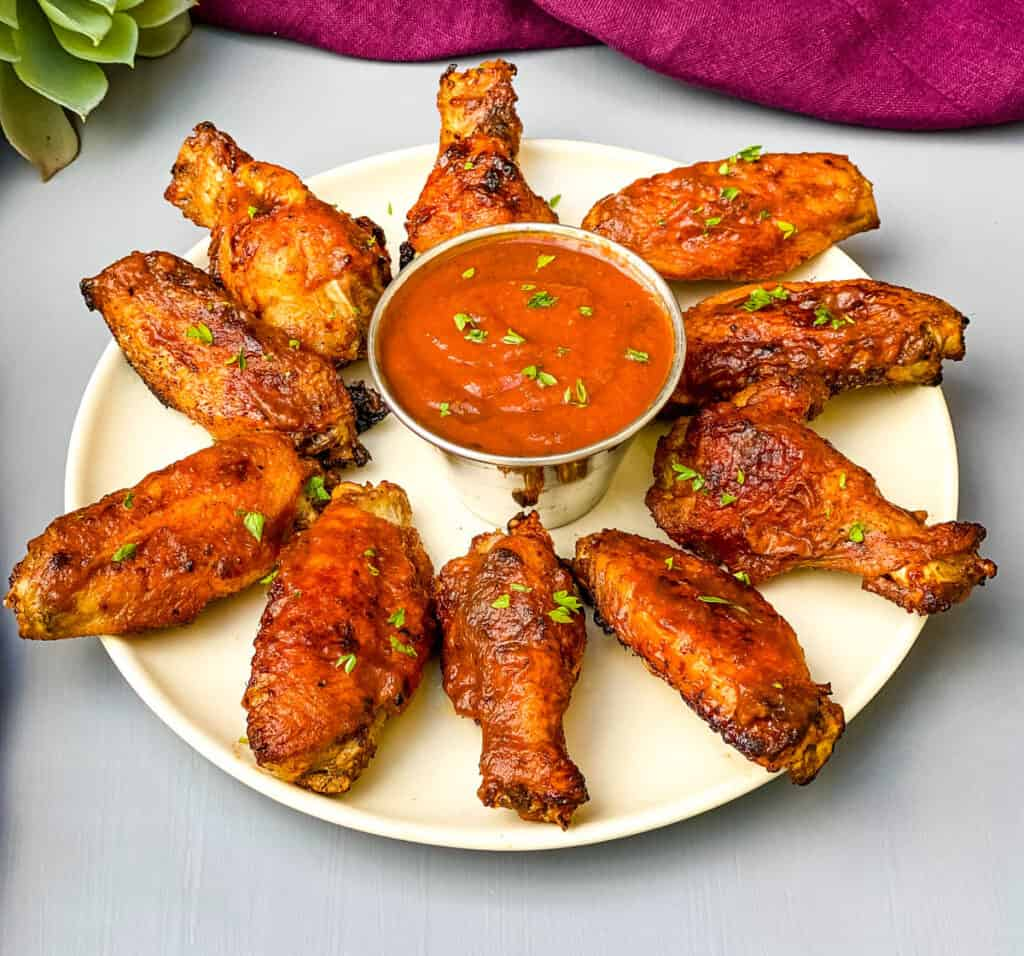 bbq air fryer chicken wings on a plate