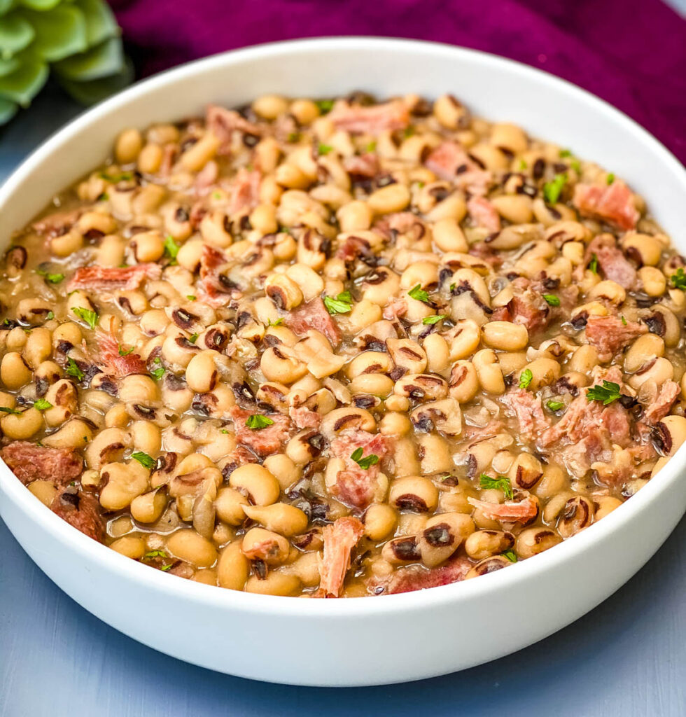 Instant Pot black eyed peas in a white bowl