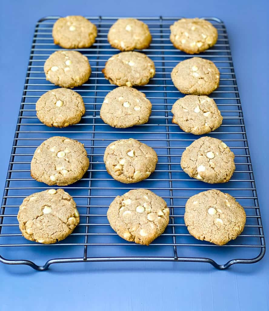 keto gingersnap cookies on a cooling rack