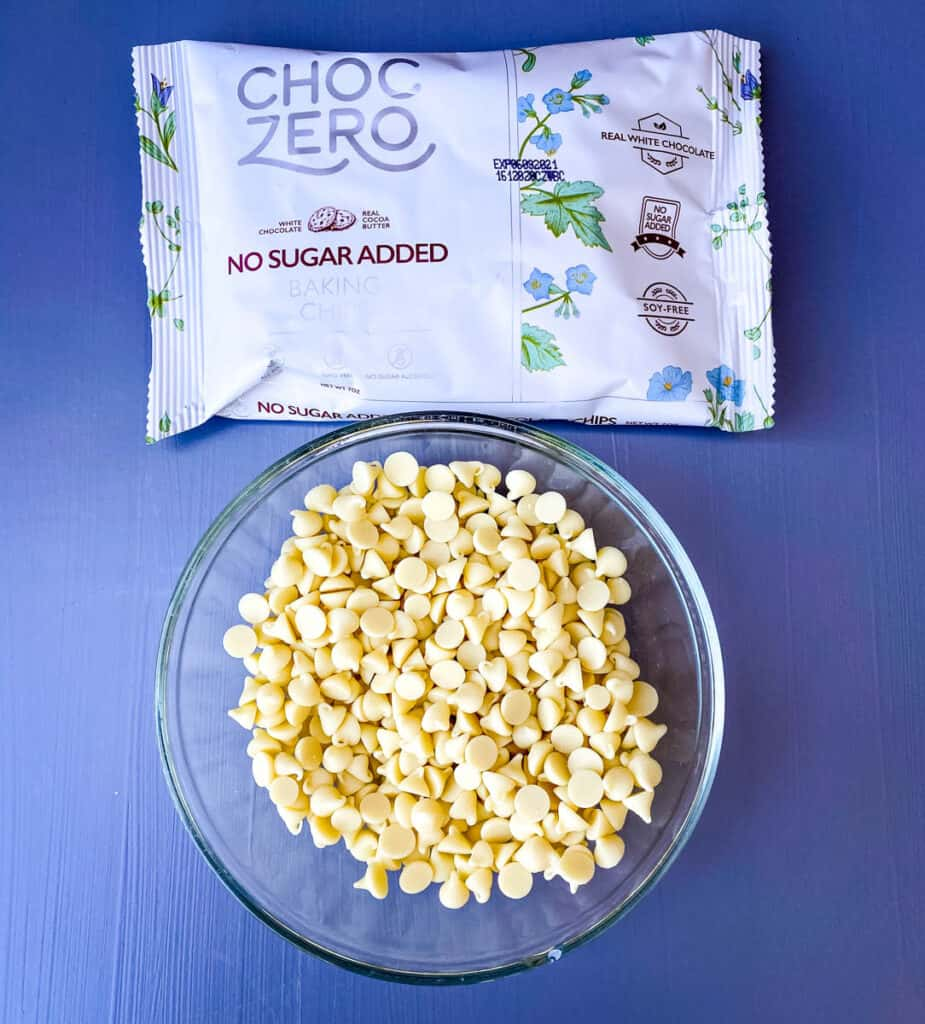 white chocolate chips in a glass bowl