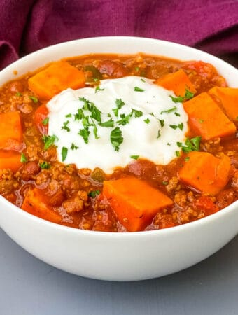 sweet potato chili in a white bowl