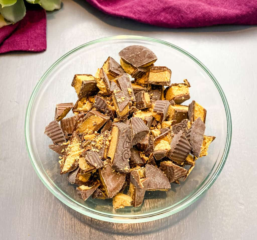 keto peanut butter cups in a glass bowl