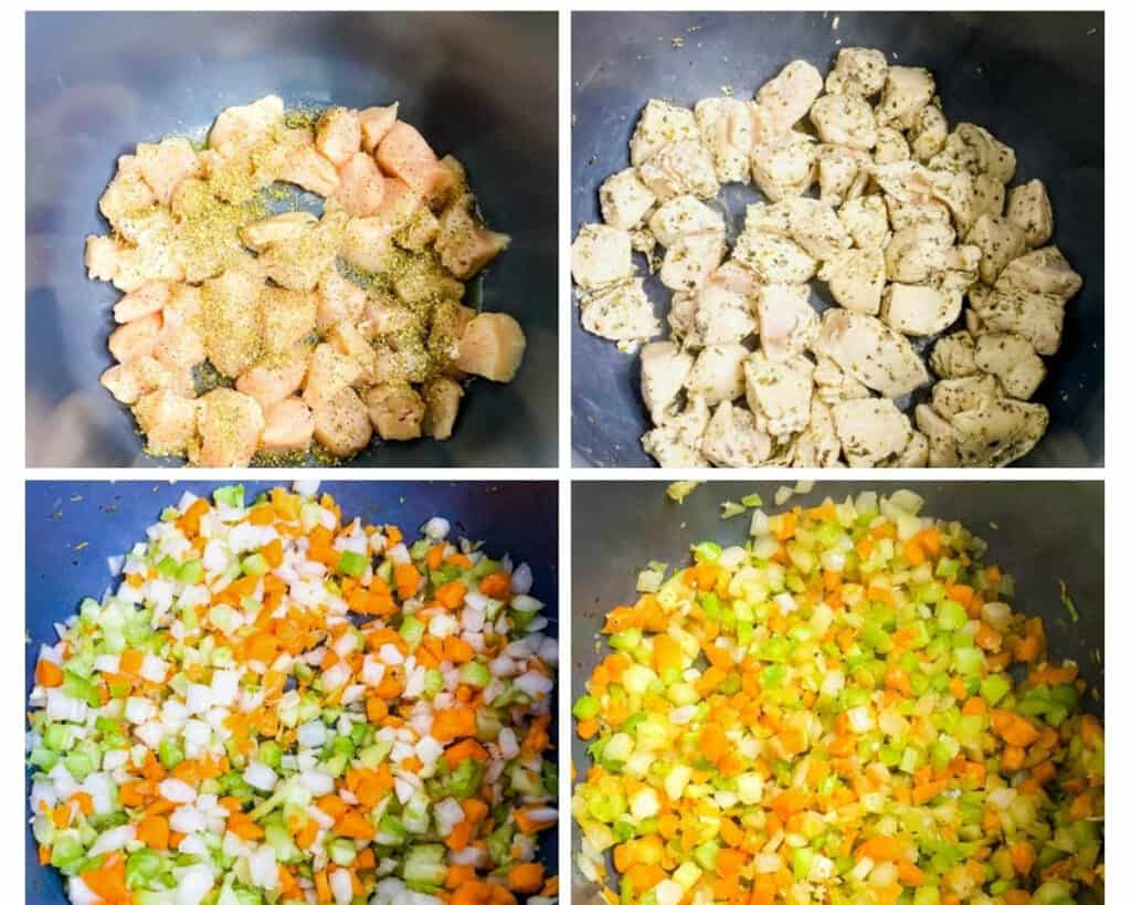 a collage photo showing how to cook chicken breasts and saute veggies