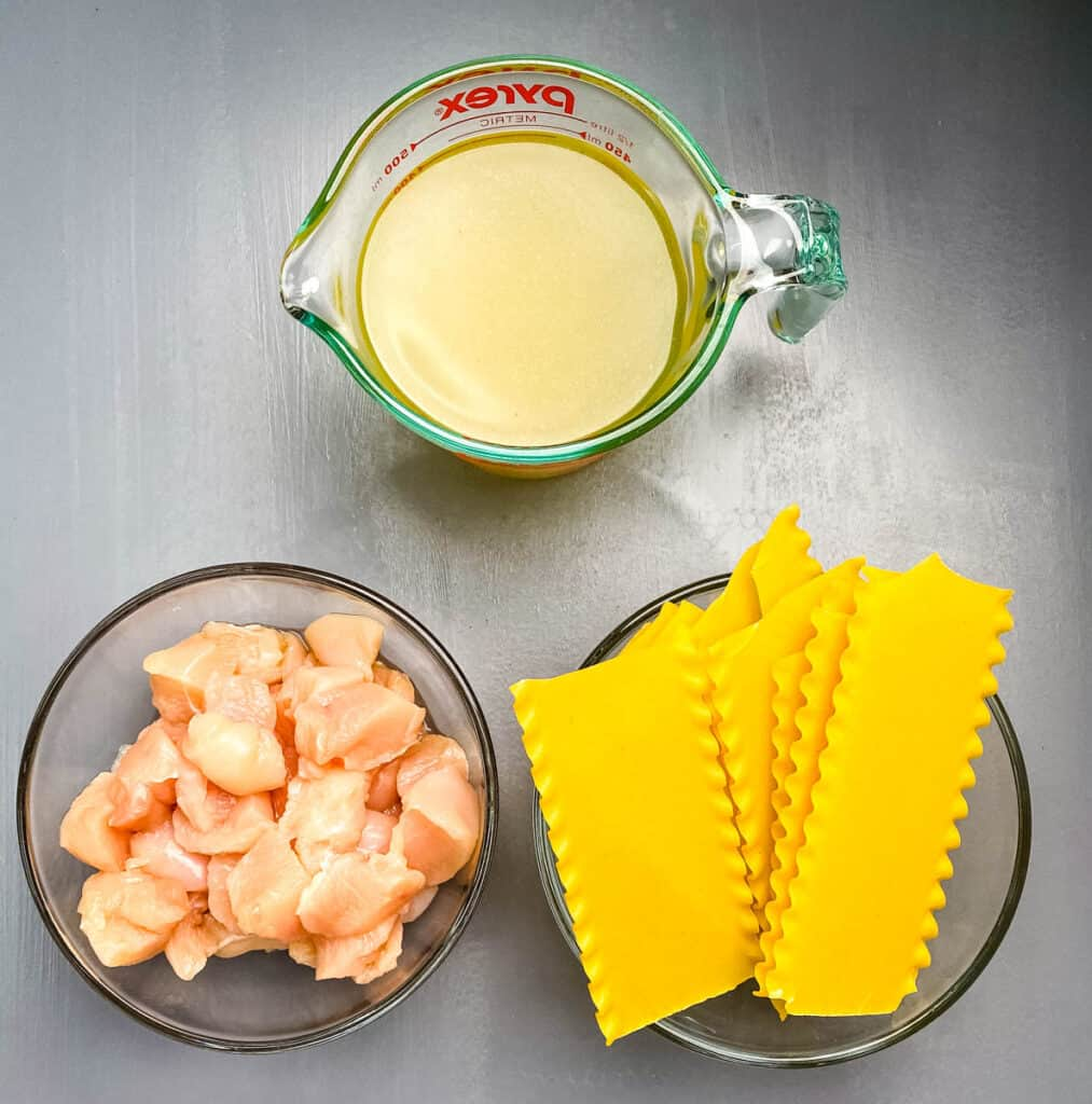 chicken broth, raw chunks of chicken, and lasagna noodles in separate glass bowls