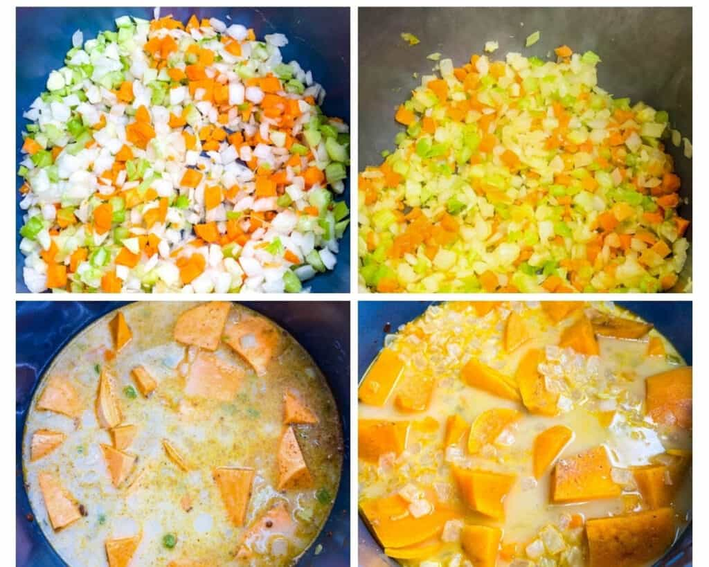 collage photo of 4 images with cut vegetables in an Instant pot and uncooked sweet potato soup in an Instant Pot