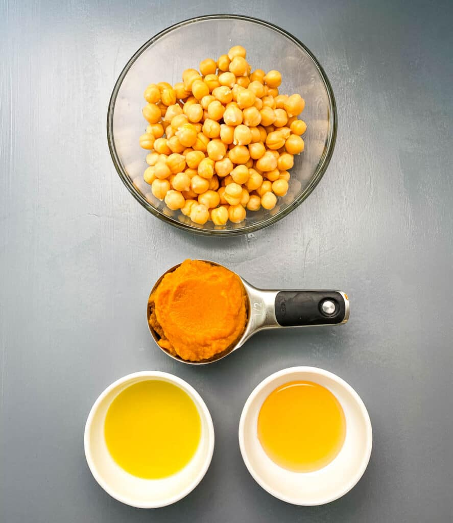 chickpeas, pureed pumpkin, olive oil, and honey in separate bowls