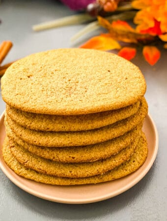 keto snickerdoodle cookies on a plate