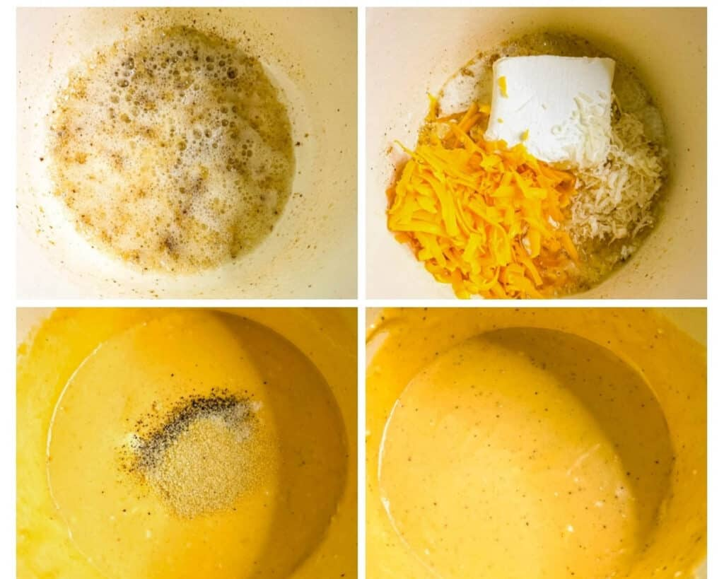 collage photo showing how to make cream sauce for