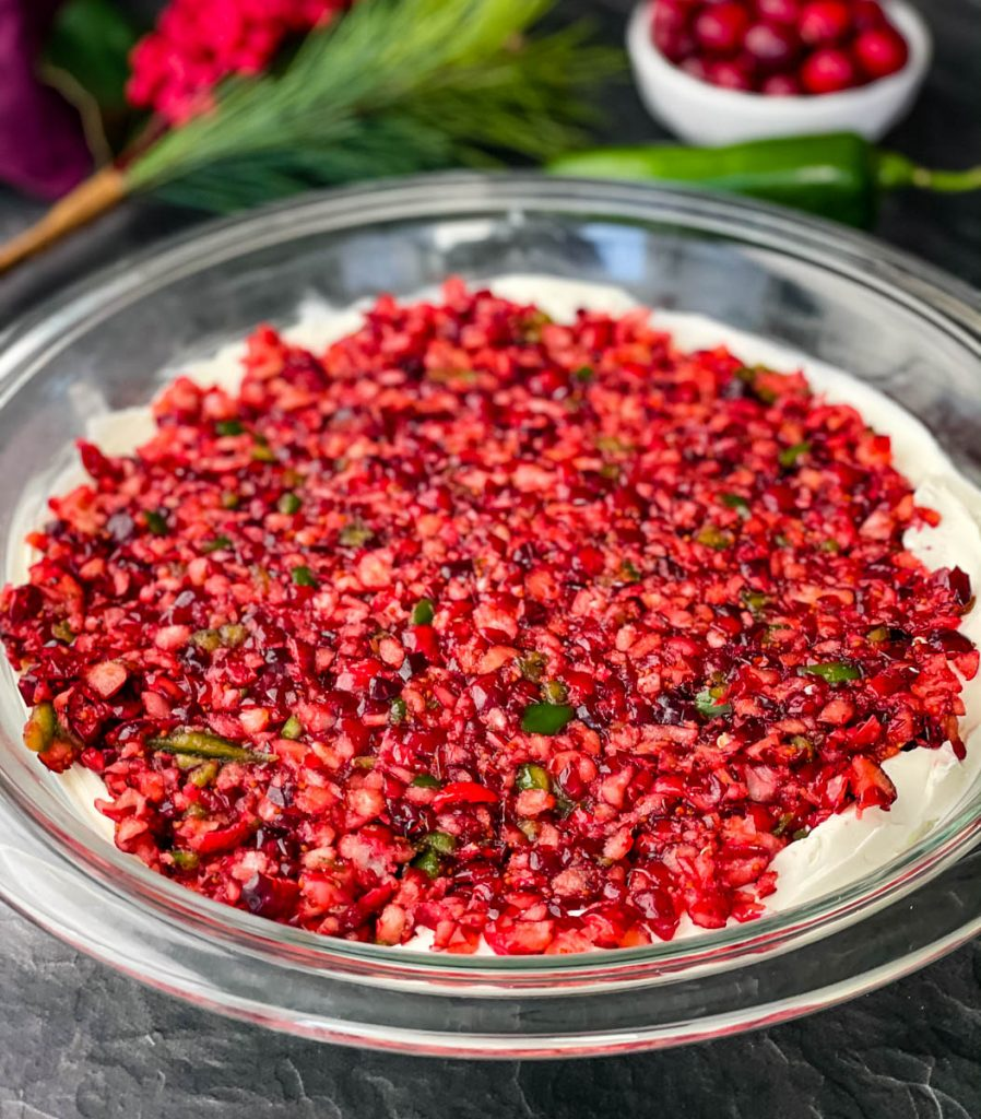 jalapeno cranberry dip in a glass bowl