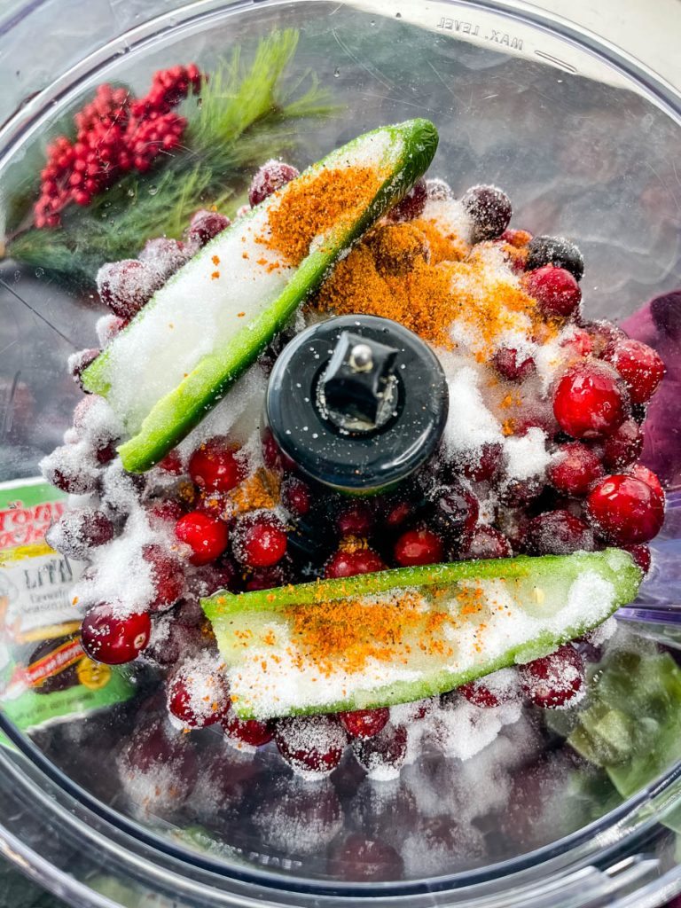 jalapeno, fresh cranberries, and sweetener in a food processor