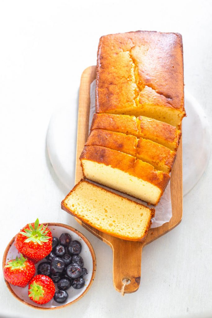 keto low carb pound cake on a wooden board