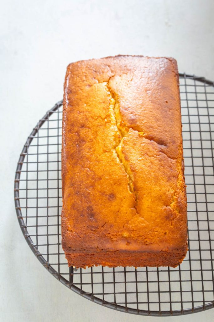 keto low carb pound cake on a cooling rack