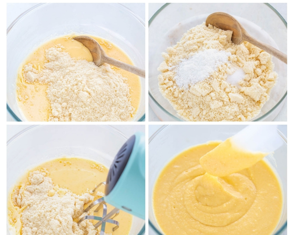 a collage photo showing how to combine butter, eggs, and almond flour for keto cake mix