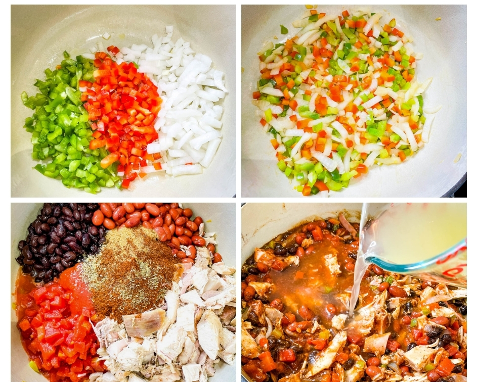 collage photo of 4 photos showing how to make leftover turkey chili in a Dutch oven