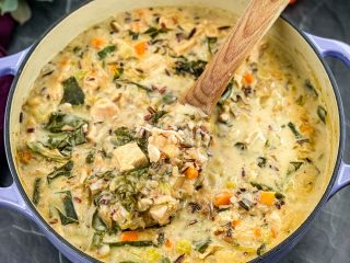 leftover turkey wild rice soup in a Dutch oven