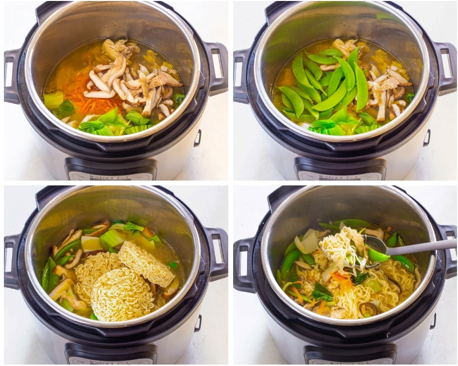 collage photo showing how to add veggies to Instant Pot ramen
