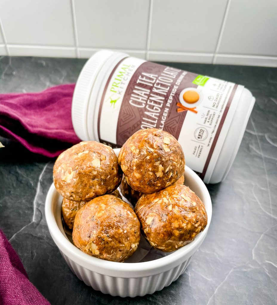 chai almond butter protein balls in a white bowl