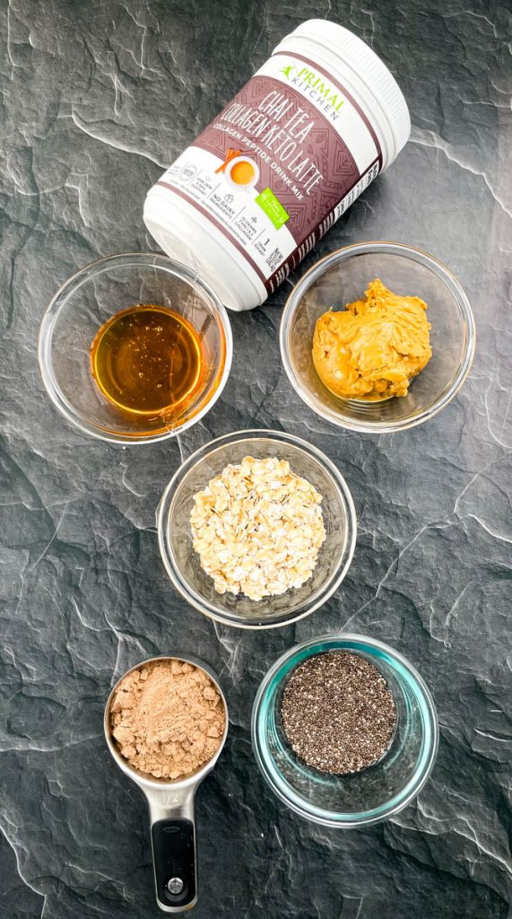 honey, almond butter, rolled oats, chia seeds, chai collagen, and honey in separate bowls