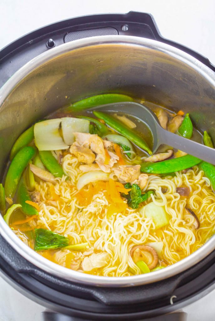 chicken ramen and broth in an Instant Pot