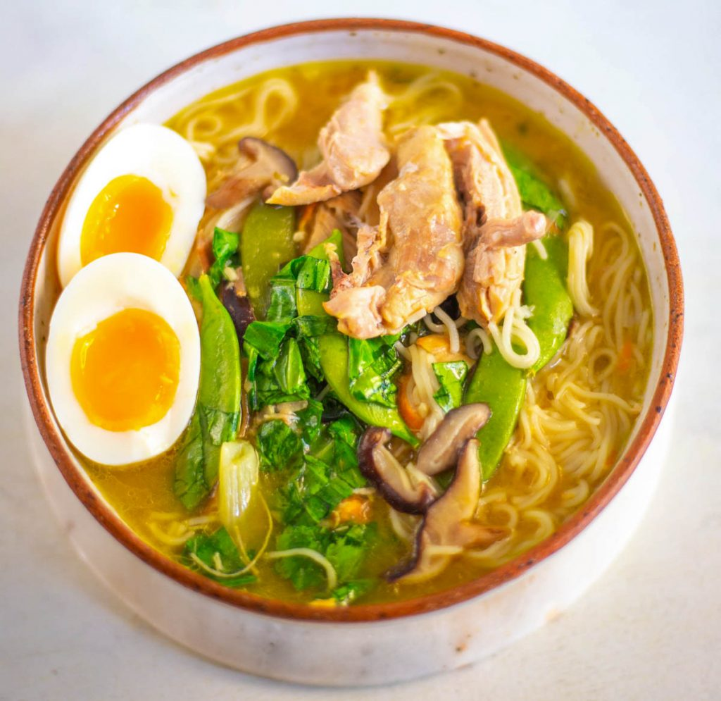 Instant Pot chicken ramen with eggs in a bowl