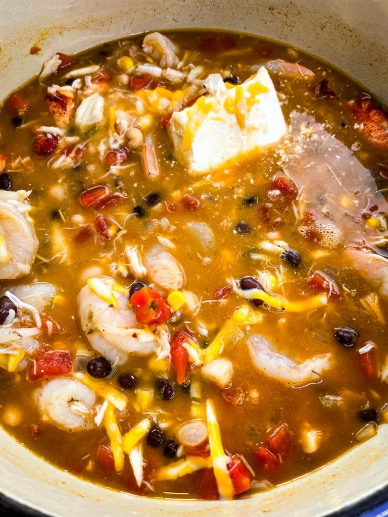 seafood chili in a Dutch oven