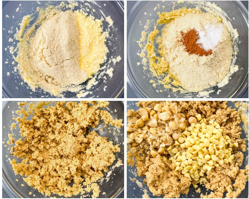 collage photo of 4 photos showing how to make keto cookie dough with almond flour and batter in a glass bowl
