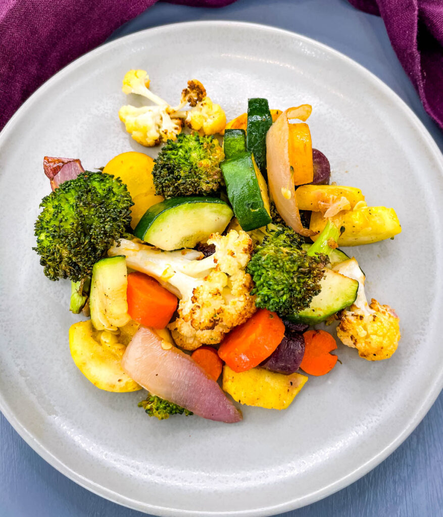 air fryer vegetables on a plate