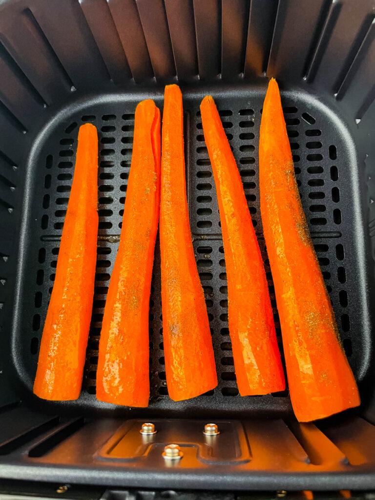 raw carrots in an air fryer