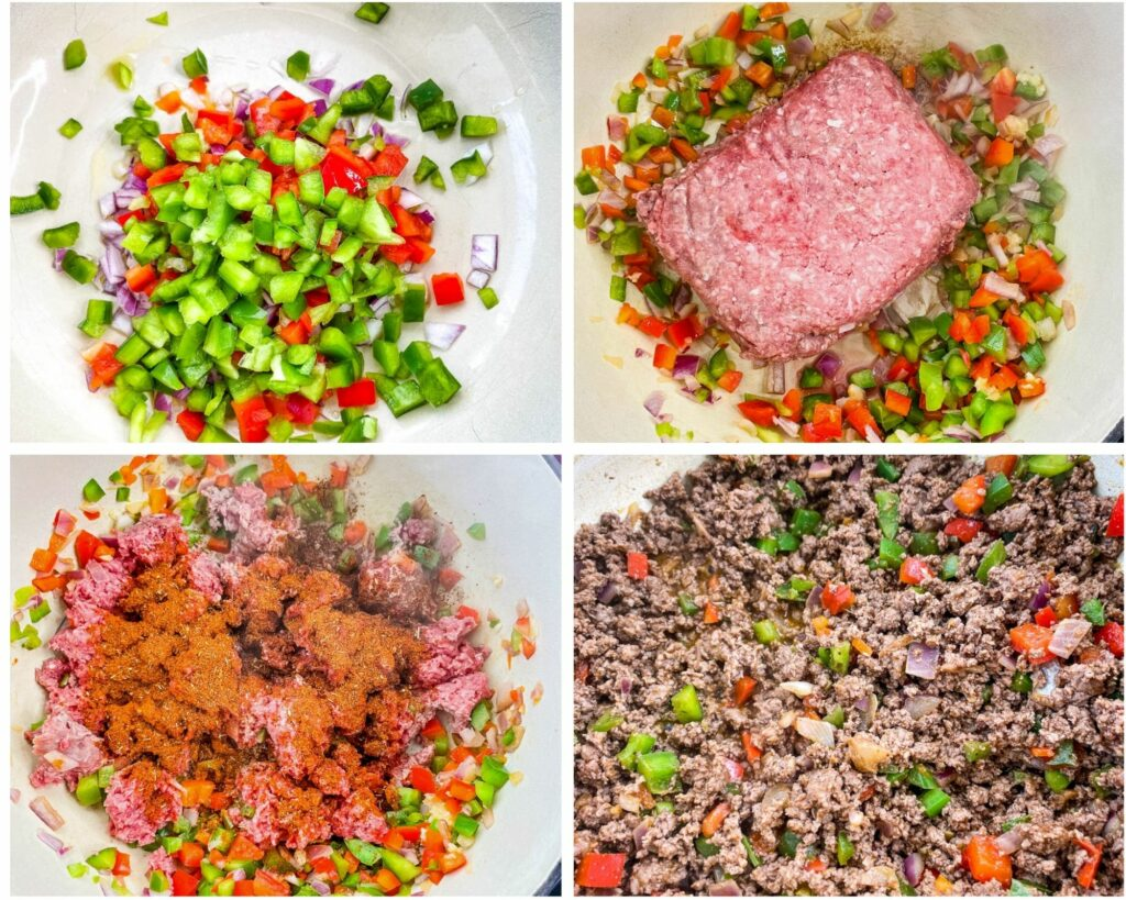 collage photo of 4 image green peppers, red peppers, onions, raw ground beef in a Dutch oven