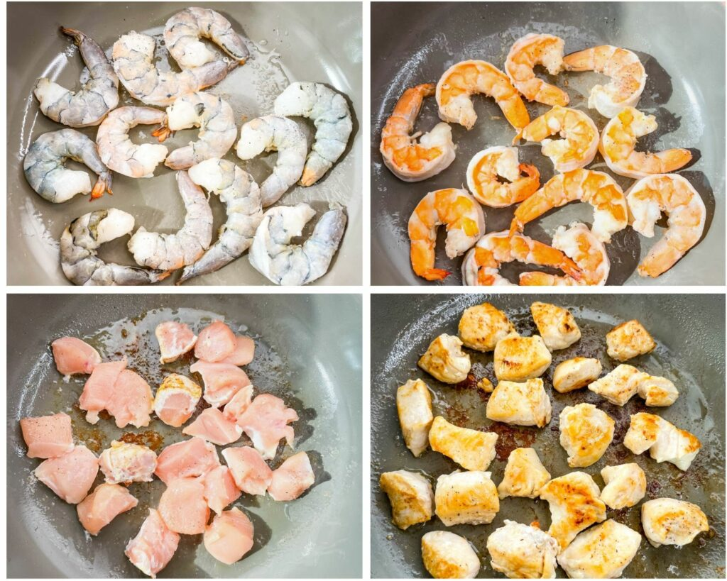 a collage photo showing how to cook raw chicken and shrimp in a pan