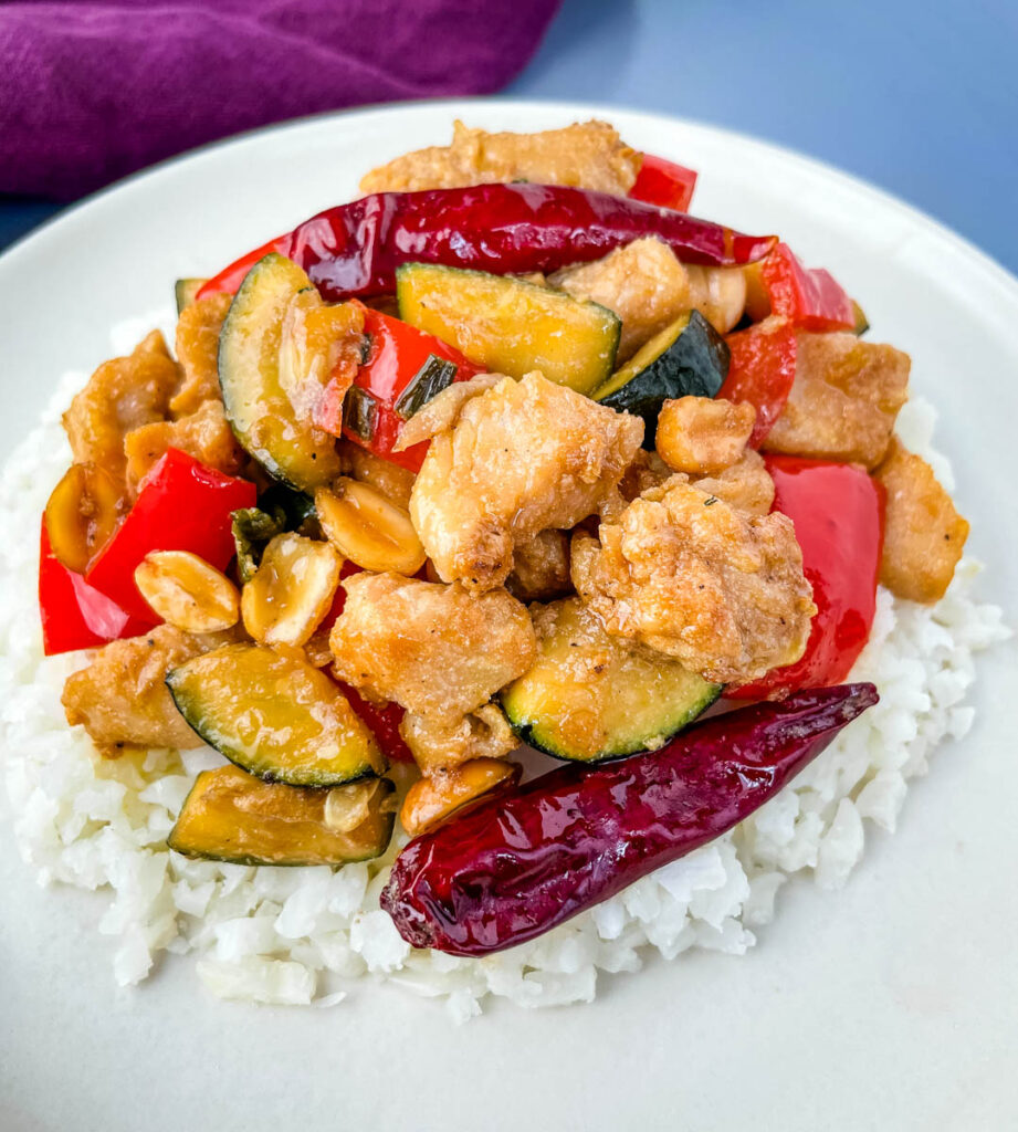 Panda Express copycat kung pao chicken on a white plate