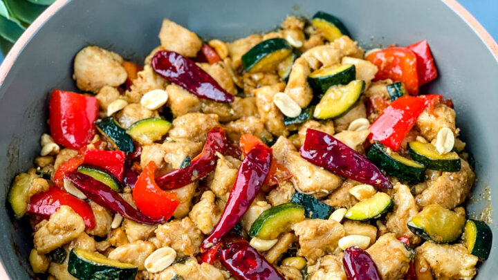 Panda Express copycat kung pao chicken on a skillet pan