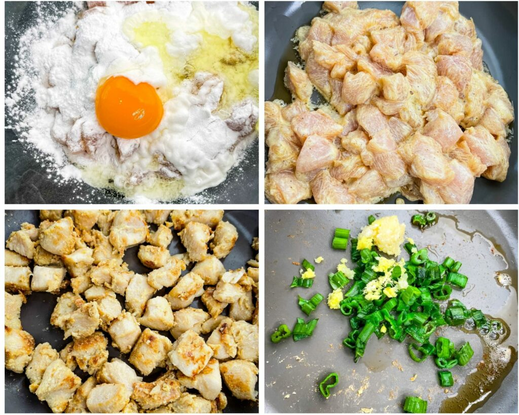 collage photo showing how to make fried chicken in a skillet with eggs and baking powder