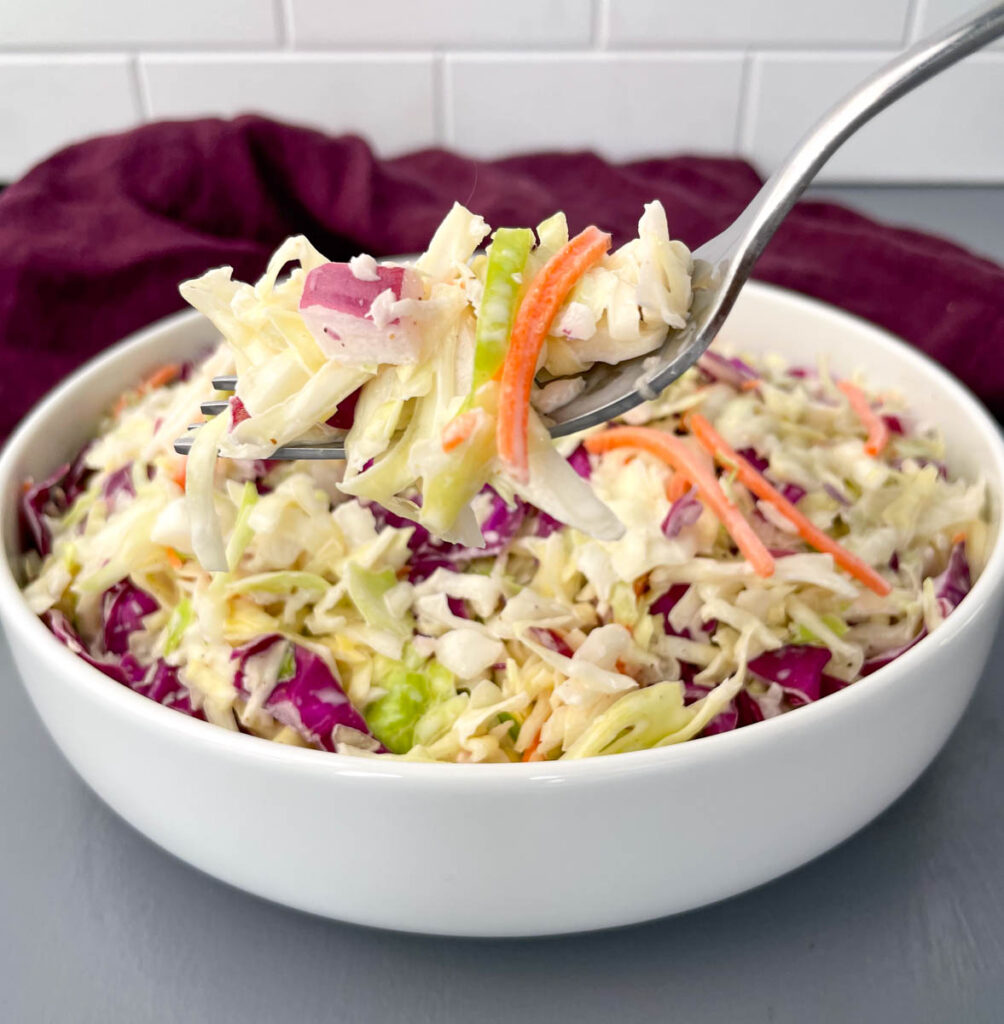 a fork full of southern coleslaw