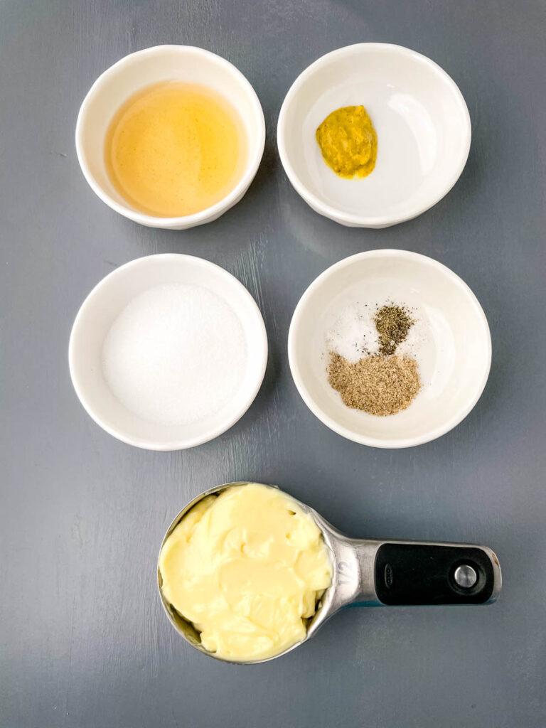 apple cider vinegar, mustard, sweetener, celery salt, salt, pepper, and mayo in separate bowls