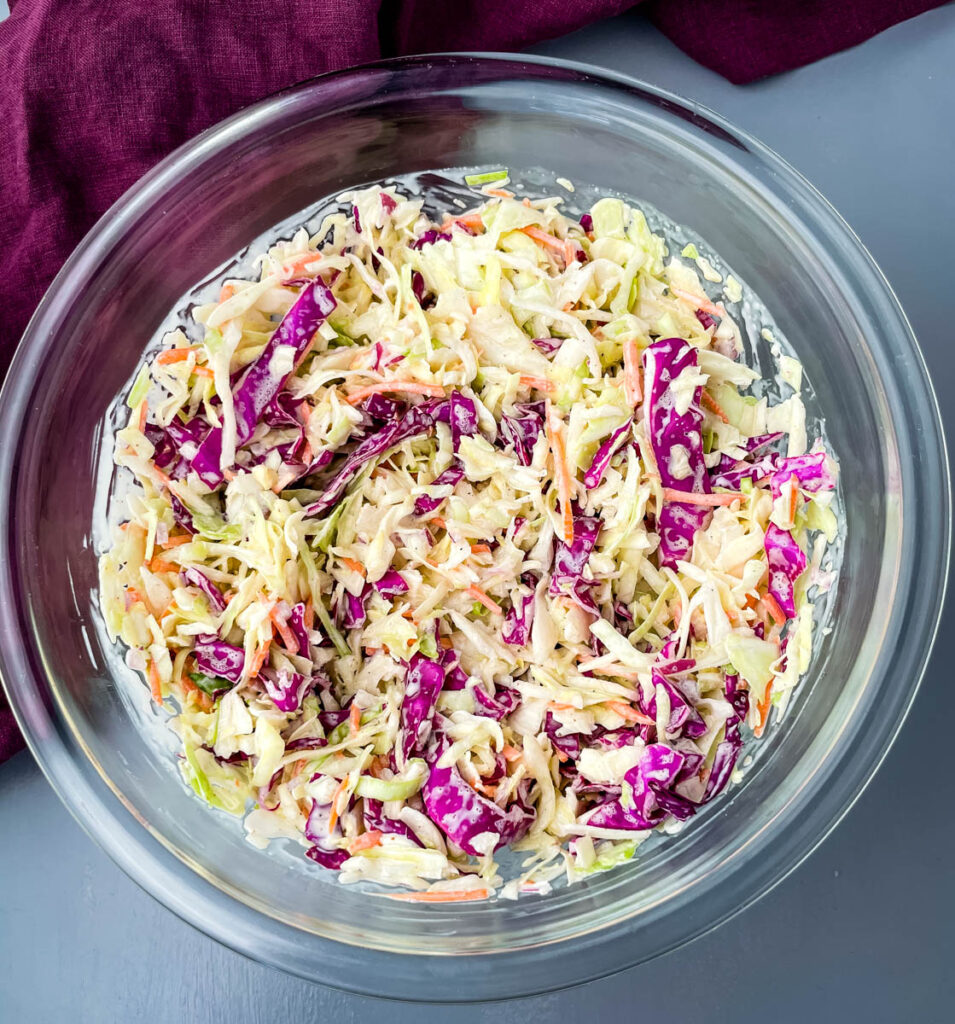 southern coleslaw in a glass bowl