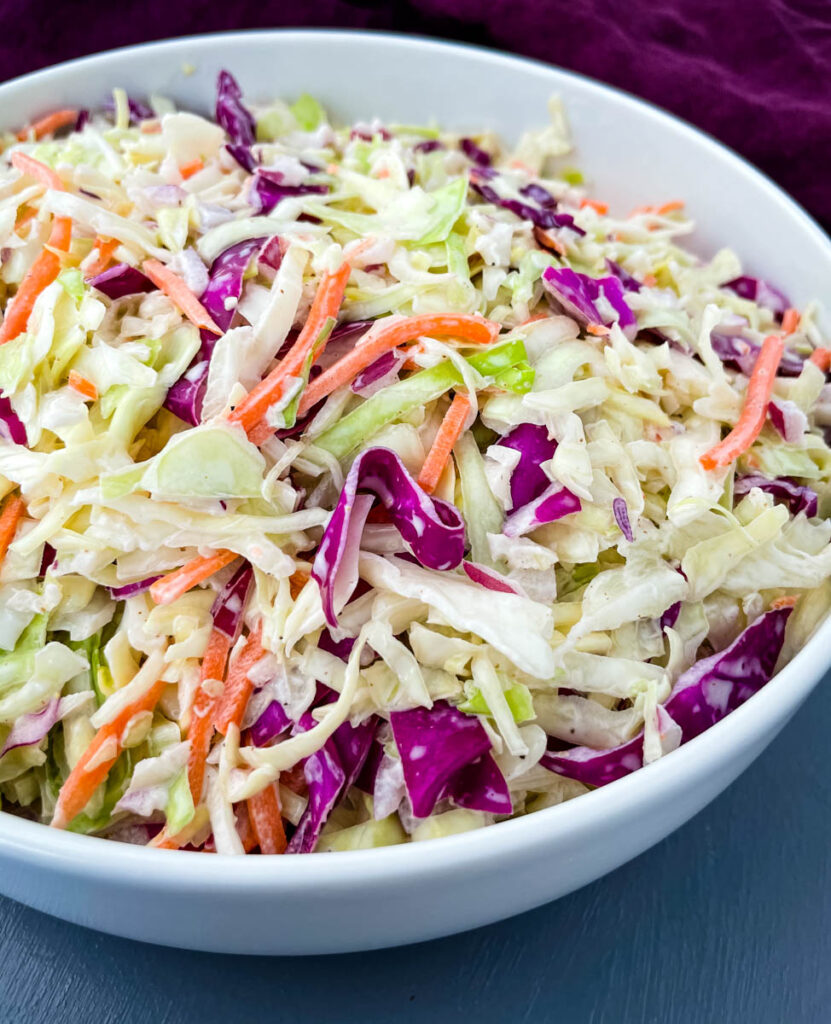 southern coleslaw in a white bowl