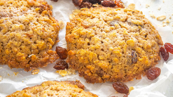 sugar free oatmeal raisin cookies on a flat surface