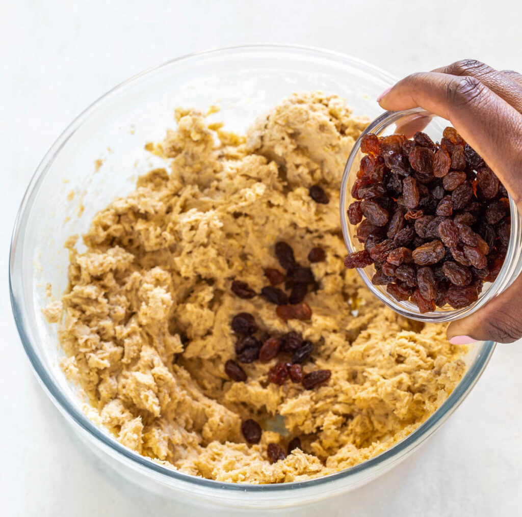 bowl of sugar free oatmeal raisin cookie dough