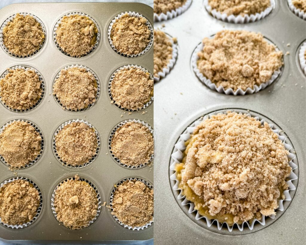 unbaked coffee cake muffins in a muffin tin
