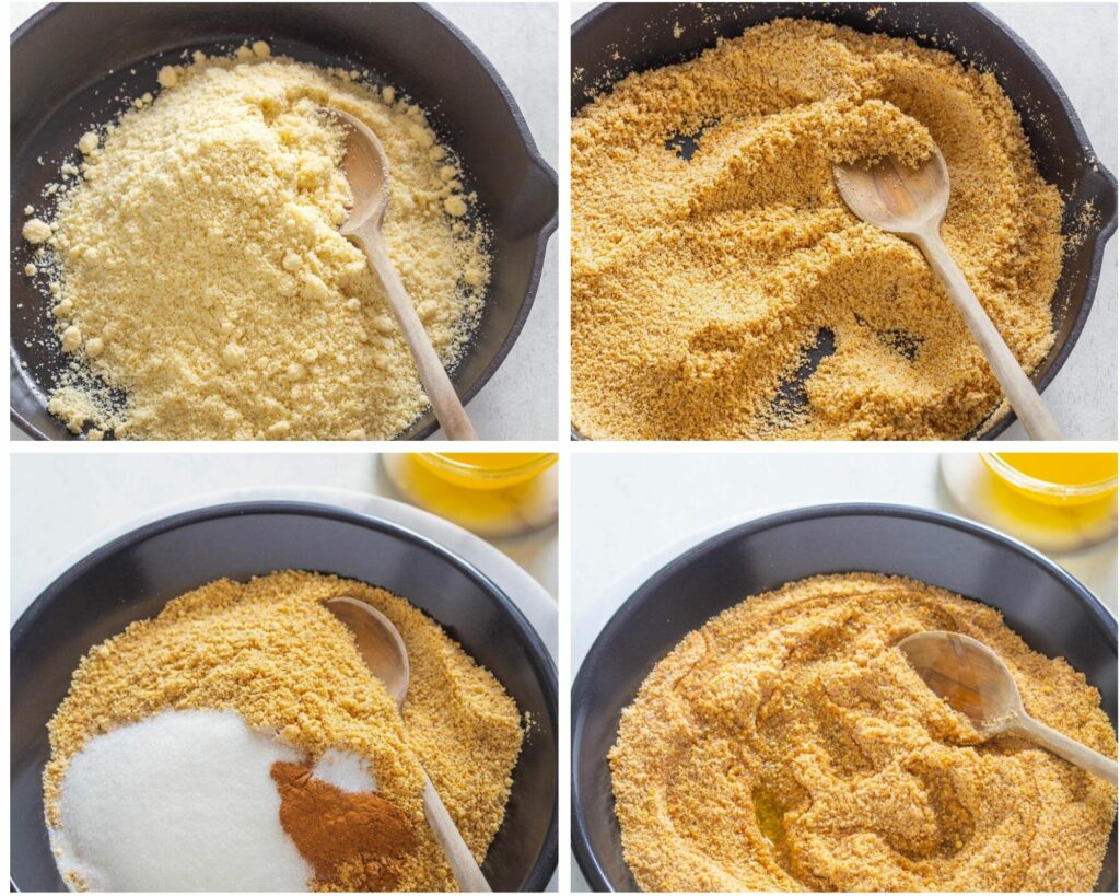 collage photo of 4 photos with keto low carb graham cracker crust