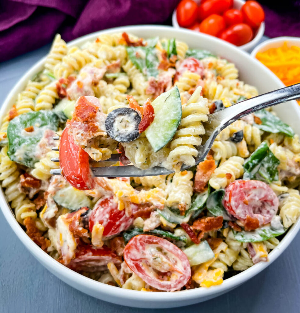 a forkful on bacon ranch pasta salad