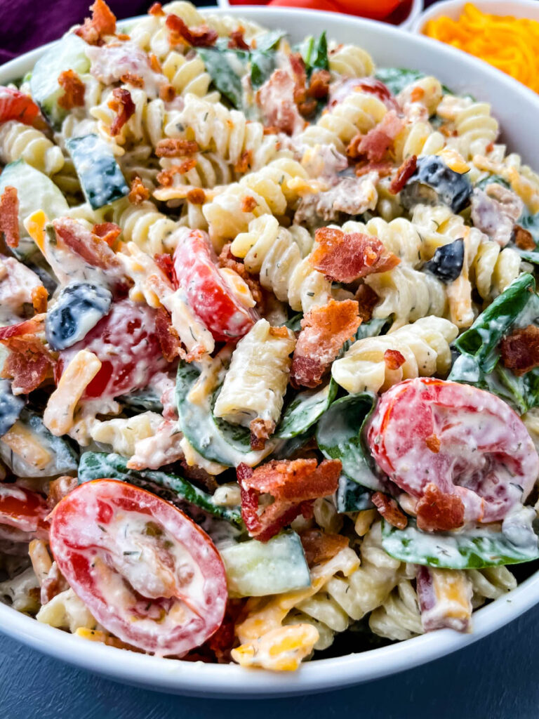 bacon ranch pasta salad in a white bowl