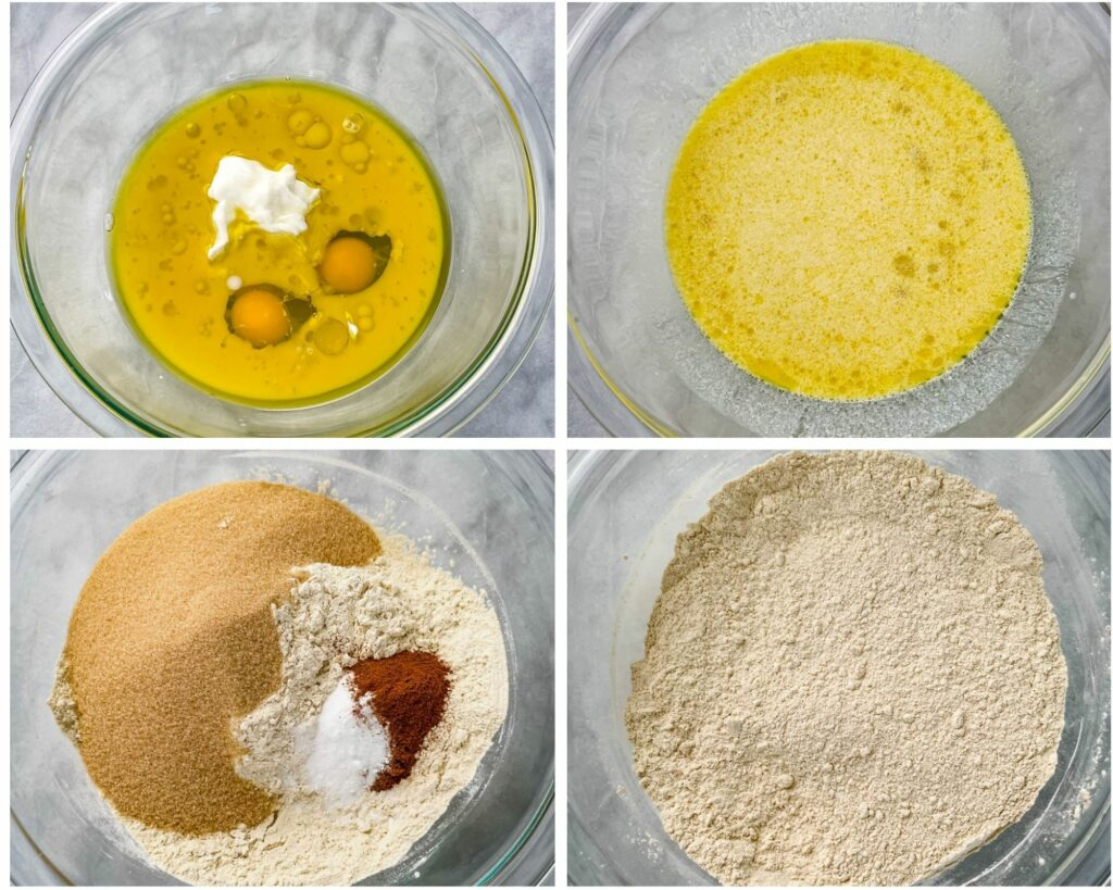 collage of 4 photos showing eggs, Greek yogurt, oil and flour in a glass bowl