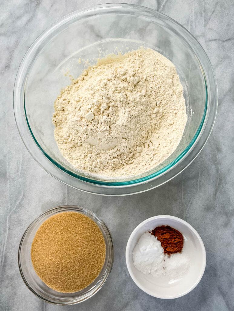 flour, brown sugar, cinnamon, baking soda, and salt in separate bowls