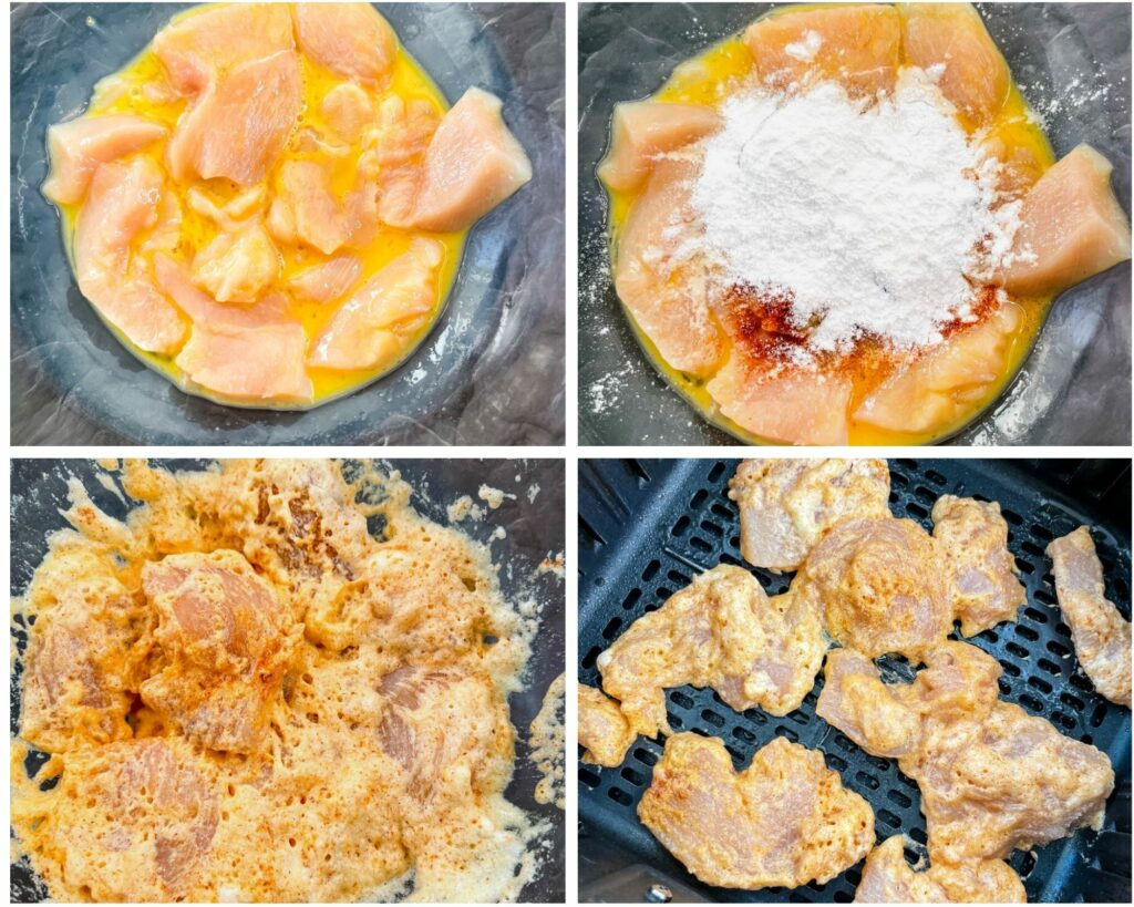 collage photo showing 4 photos of seasoning chicken and then added to an air fryer