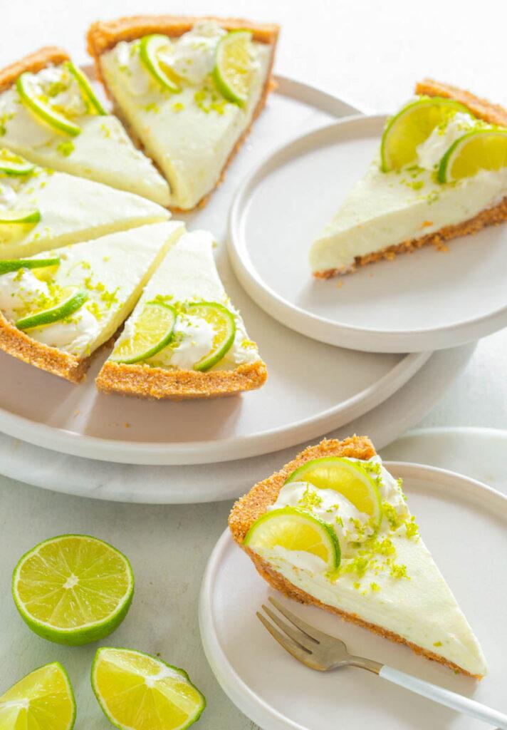 keto low carb key lime on a white plate with fresh key limes