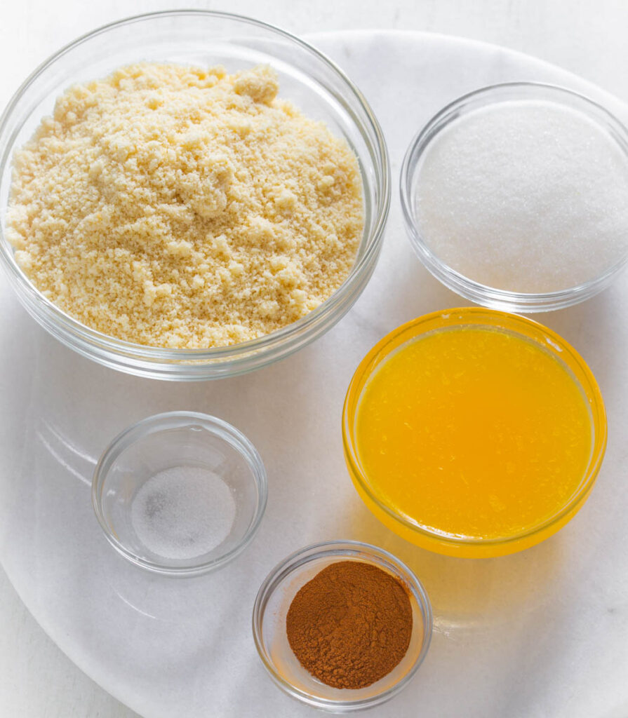 almond flour, sweetener, butter, cinnamon, and salt in separate bowls